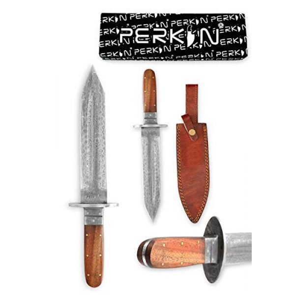 Perkin Fixed Blade Survival Knife 2 Fixed Blade Hunting Knife with Sheath Damascus Steel Full Tang Blade