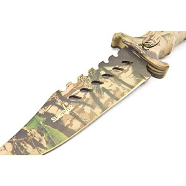 Master Cutlery Fixed Blade Survival Knife 3 Unlimited Wares HK-1037S Camo Outdoor Fixed Blade Knife 10.5-Inch Overall