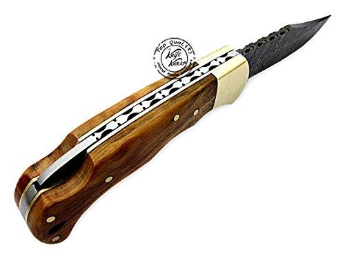 Knife Knation  4 Olive Wood 6.5'' 100% Handmade Damascus Steel Folding Pocket Knife 100% Prime Quality