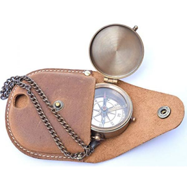 NEOVIVID Survival Compass 5 NEOVIVID Brass Compass Engraved with Thoreau's Go Confidently Quote and Stamped Leather Case, Boys Gifts