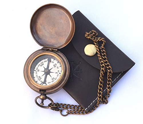 NEOVIVID Survival Compass 5 NEOVIVID Handmade Brass Push Open Compass On Chain with Leather Case, Pocket Compass, Gift Compass