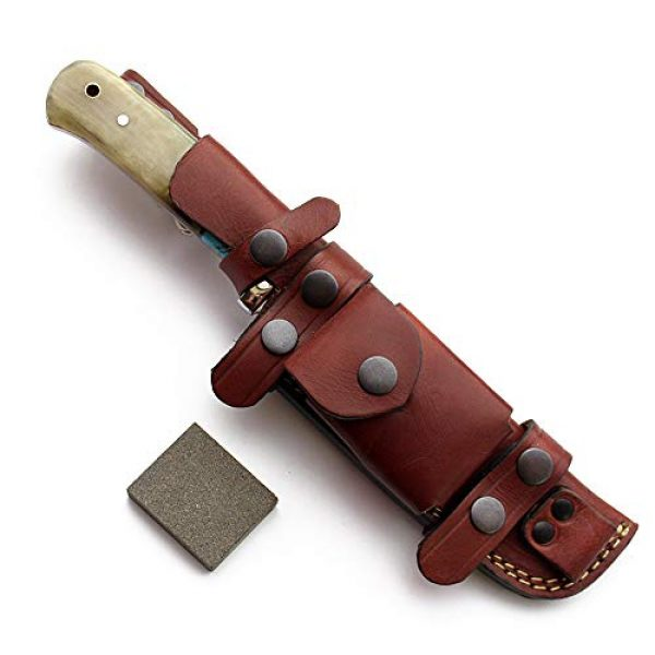 GCS Knives Fixed Blade Survival Knife 6 GCS Handmade D2 Steel Tactical Survival Hunting Camping Knife Sheep Horn Handle with Brown Leather Right or Left Hand Horizontal Fixed Blade Knife Sheath & Sharpening Stone GCS209