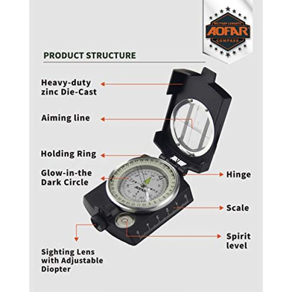 AOFAR Survival Compass 2 AOFAR AF-4580 Military Black Compass Lensatic Sighting Navigation, Waterproof and Shakeproof with Map Measurer Distance Calculator, Pouch for Camping, Hiking, Hunting, Backpacking