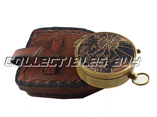 collectiblesBuy  6 collectiblesBuy Antique Quote Compass with Triangle Orange Leather Box Vintage Functional Marine Brass Magnetic Handmade