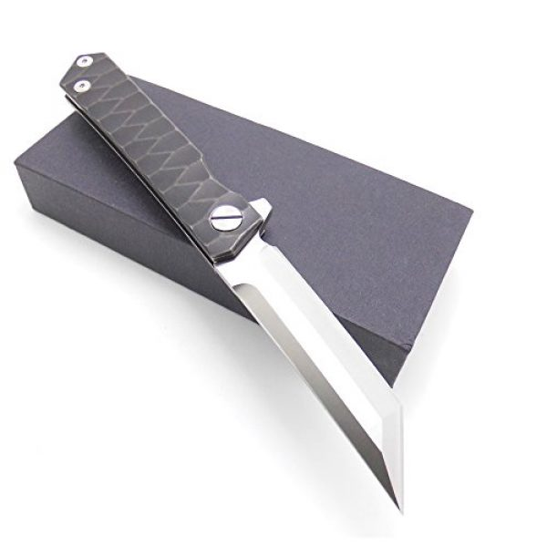 MASALONG Folding Survival Knife 2 MASALONG Survival Tactical Titanium Handle D2 Blade Pocket Hunting Outdoor Folding Knife (A2)