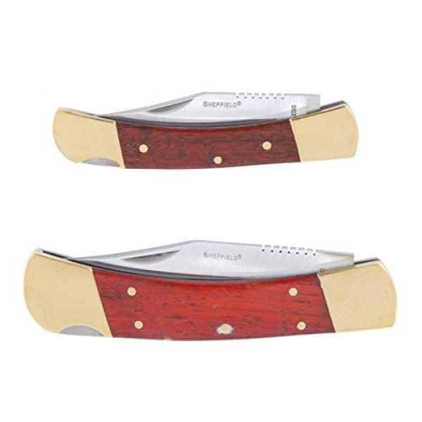 Sheffield Folding Survival Knife 4 Sheffield 12697 Classic Folding Knife Set | 2 Partially Serrated Knives One 3 Blade, One 3-3/4 Blade | Hardwood & Brass Handles | Lock Back Release | Quality Go-Anywhere Knives