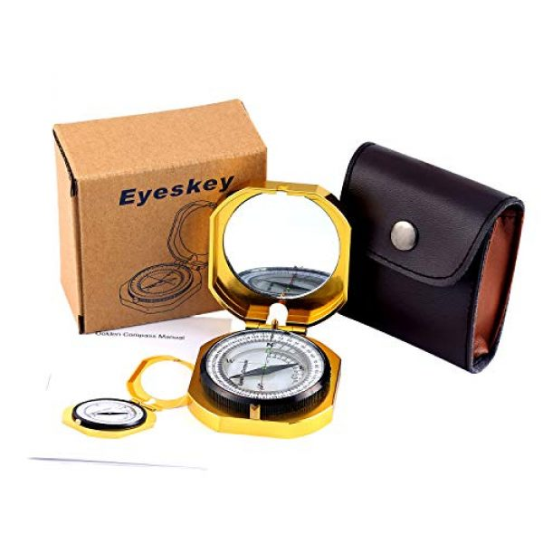 Eyeskey Survival Compass 7 Eyeskey Top-Grade Multifunction Compass for Outdoor Activities, High Accuracy, Waterproof and Shakeproof, Golden