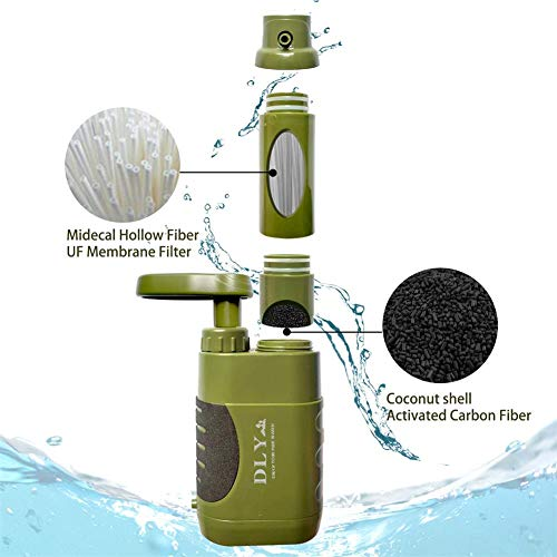 DLY  5 DLY Portable Water Filter Outdoor Water Purifier Camping - 0.01 Micron Emergency Backpacking Water Filter for Hiking with 4-Stage Filter Pump