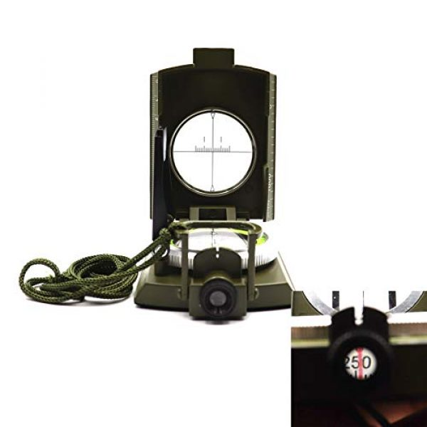 DETUCK Survival Compass 4 DETUCK(TM Military Compass Metal Lensatic Compass with Inclinometer, Night Fluorescent, Impact Resistant and Waterproof, Sighting Navigation Survival Compass for Hiking, Camping, Hunting, etc