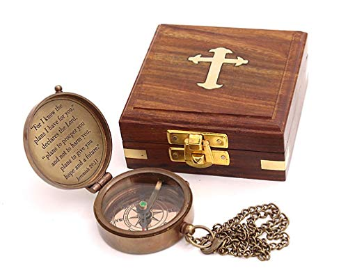 Roorkee Instruments India Survival Compass 4 Roorkee Instruments India for i Know The Planes I Have for You Quote Engraved Compass with Wood Box,Jeremiah 29 11, Baptism Gifts, Gift for Him, Birthday, Fathers Day, Graduation Gift, Gift for Son
