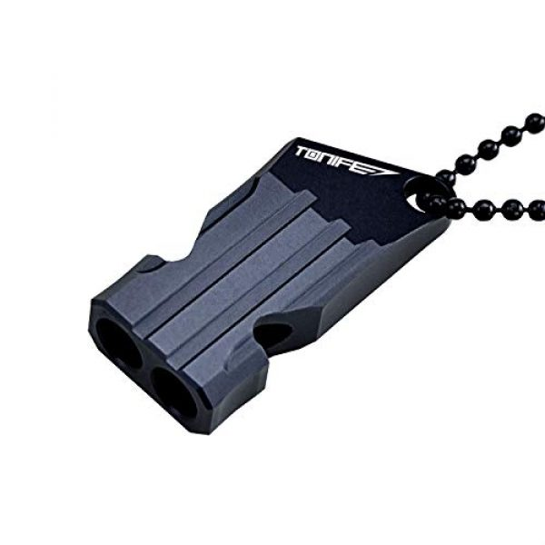 TONIFE Survival Whistle 2 TONIFE Whistles TW20 Aluminum Survival Whistles Double Tubes with Ball Chain Emergency Whistles for Outdoor Hiking Camping