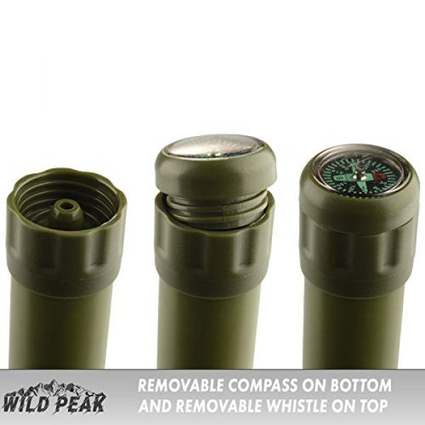 Wild Peak Survival Water Filter 4 Wild Peak Stay Alive-2 Outdoor Activated Carbon 4000 Liter Water Filter Emergency Straw with Compass, Whistle, Signal Mirror, Carabiner for Survival, Camping, Hiking, Climbing, Backpacking (2-Pack)