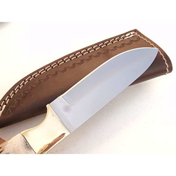 """DKC Knives Fixed Blade Survival Knife 2 (1 6/18) DKC-724-440c STAG Guard Stainless Steel Stag Horn Custom Handmade Hunting Handmade Knife Fixed Blade 10 oz 9.5"""" Long 4.5"""" Blade"""