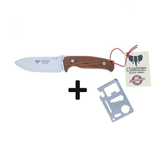 Cudeman Fixed Blade Survival Knife 3 Cudeman Survival Knife 298-KP FAB I, Limited Edition Polished Cocobolo Handle and Blade, 4.3 inches Blade, Camping Tool for Fishing, Hunting, Sport Activity + Multifunction Gift Card