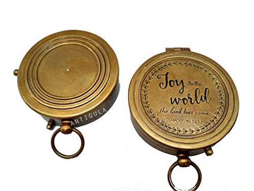 Antiqula  2 Joy to The World The Lord HAS Come Engraved Brass Antique Look Vintage Compass with Real Leather Case Antishock Outdoor Camping Hiking Home Decor staedtler Compass for Kids