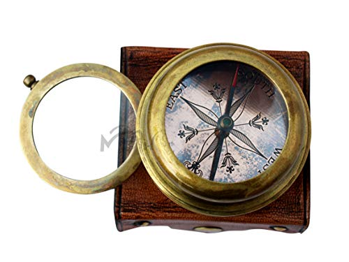 MAH Survival Compass 3 MAH Magnifying Glass Brass Compass with Case. C-3259