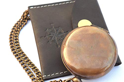 NEOVIVID Survival Compass 2 NEOVIVID Handmade Brass Push Open Compass On Chain with Leather Case, Pocket Compass, Gift Compass