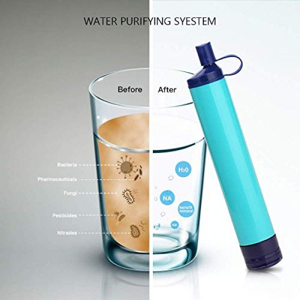 Jak Survival Water Filter 3 Jak Personal Water Filter Straw Water Purifier,Portable Water Filtration Straw Outdoor Purifier Survival Gear Best Life Emergency Tool for Climbing,Sports,Backpacking,Hiking,Camping,Travelling