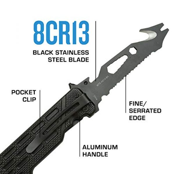 MTECH USA EVOLUTION Folding Survival Knife 3 MTech Evolution Spring Assisted Knife - MTE-A014-BK