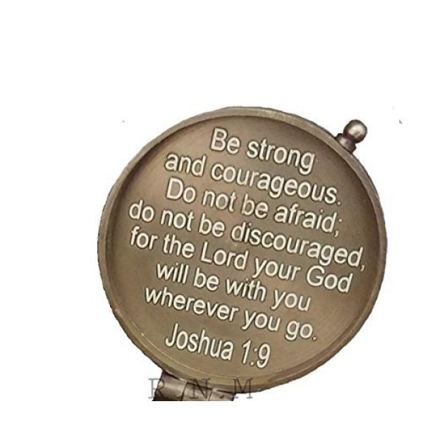 Royalmart Survival Compass 6 Royalmart Antique Compass Be Strong and Courageous Verse with Joshua Cross Engraved on Working Compass, Confirmation Gift Ideas, Graduation Gifts, Faith Gift, Vintage Gift