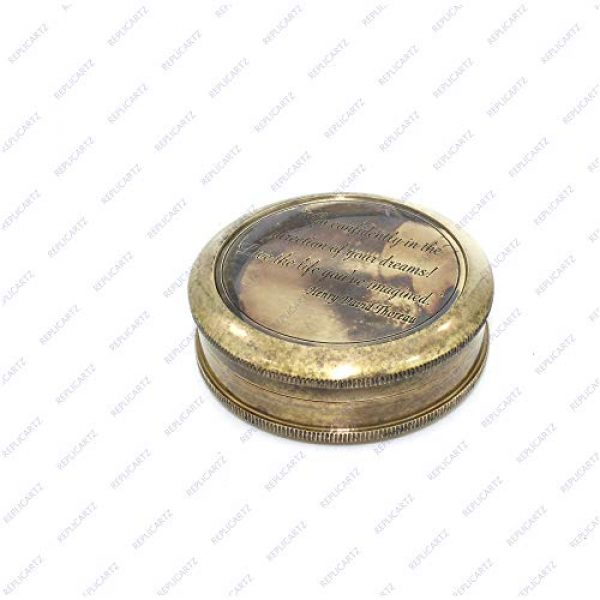 REPLICARTZ Survival Compass 5 Brass Handmade Nautical Poem Compass with leather cover (Thoreu)