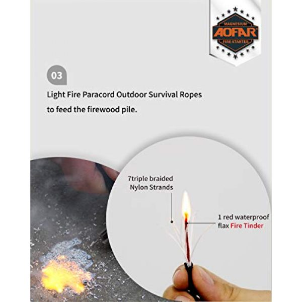 AOFAR Survival Fire Starter 5 AOFAR AF-374 Magnesium Fire Starter (2-Pack) Waterproof Fire Steel Pouch for Camping, Hiking, Hunting, Backpacking,Outdoor Survival fire Striker kit