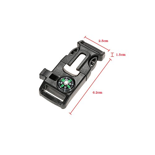 Lixada  2 Lixada 10Pcs Emergency Whistle Buckle with Flint Scraper Fire Starter and Compass for Outdoor Camping Hiking Paracord Bracelet