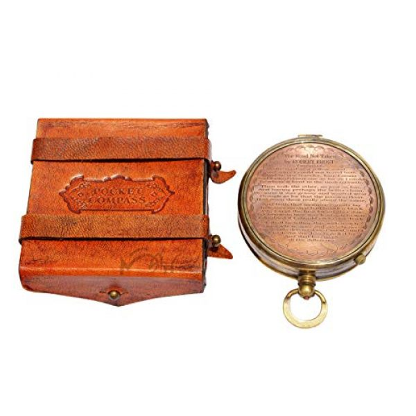 MAH Survival Compass 5 MAH ''Robert Frost Poem'' Engraved Antiquated Finish Brass Compass with Case. C-3241