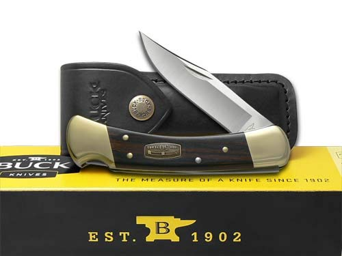 Buck Knives Folding Survival Knife 2 BUCK 110 50th Anniversary Ebony Diamond Wood Folding Hunter Stainless Pocket Knife