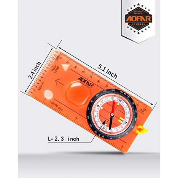 AOFAR Survival Compass 3 AOFAR AF-5C Orienteering Compass for Hiking, Boy Scout Compass for Kids - Professional Field Compass for Map Reading,Navigation and Survival Lightweight - Mini Camping Compass