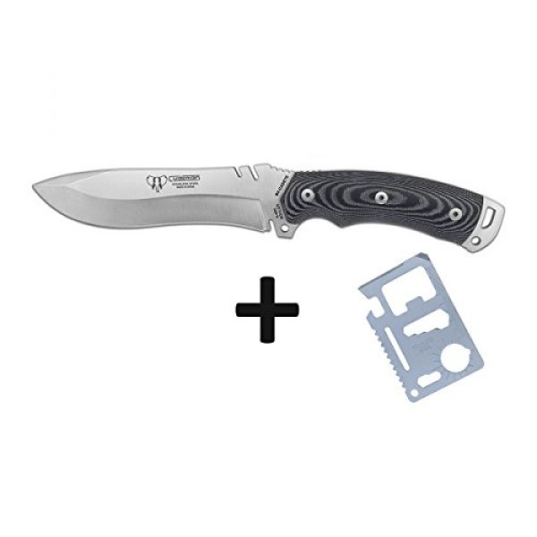 Cudeman Fixed Blade Survival Knife 3 Cudeman Survival Knife 291-M Model Boina Verde Cadet, Blade of 5.9 inches, Black micarta Handle, Sport use, Camping Tool for Fishing, Hunting, Sport Activity + Multifunction Gift Card