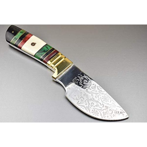 """TBP Knives Fixed Blade Survival Knife 3 TBP Pocket Knife - 9"""" Custom Handmade D2 Steel Fixed Blade Survival Tactical Outdoor Hunting Knife - Hand Engraved Blade Knife with Leather Sheath - for Survival Gear and Equipment"""