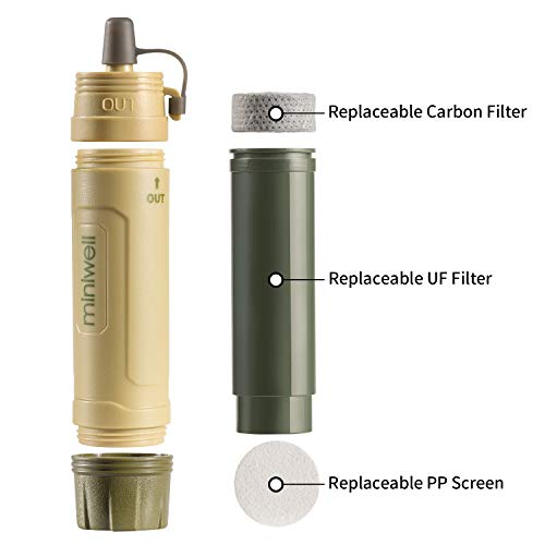 miniwell  3 miniwell Gravity Water Purifier Straw Fairly Light and Easily Packed. Multi Use for Group Camping and Famliy Emergency Prepardness