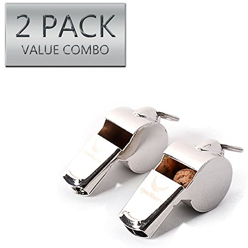 Runtasty  2 [Voted No.1 Whistles] Premium Metal Whistle Pack of 2 with Adjustable & Removable Lanyard. Ideal for Survival