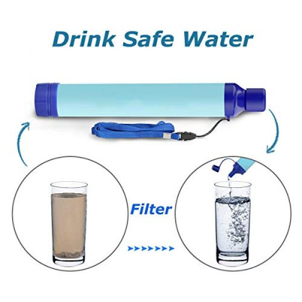 Kerrogee Survival Water Filter 5 Kerrogee Portable Water Filter Straw,396 Gallon Filtration Capacity,0.01 Micron Filtration Accuracy Survival Water Filter,Easy Carry for Camping,Backpacking