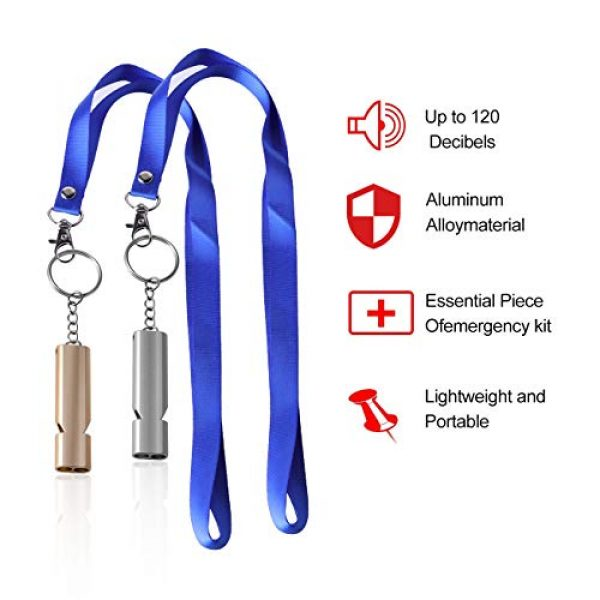 AVIDE Survival Whistle 2 AVIDE 6 Pack Emergency Whistle Premium Safety Survival Whistles with Lanyard Keychain, High Pitch Double Tubes for Outdoor Hiking Camping Boating Hunting Fishing