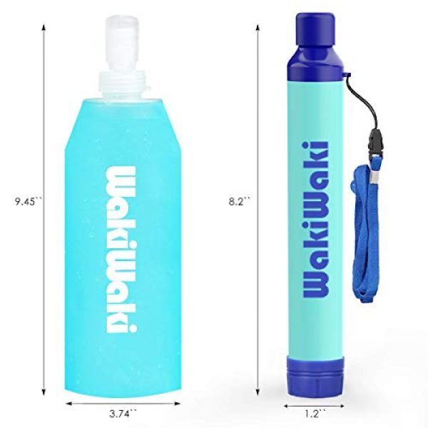 Membrane Solutions Survival Water Filter 5 Membrane Solutions Water Bottle with Straw,Multi-Function Water Filter System with 3-Stage Filtration for Hiking, Camping