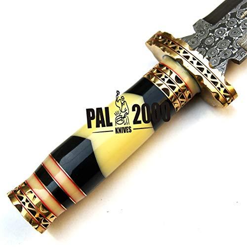 PAL 2000 KNIVES  7 PAL 2000 KNIVES Handmade Damascus Hunting Knife 16 Inches Buffalo Horn and Camel Bone Handle with Sheath 9532