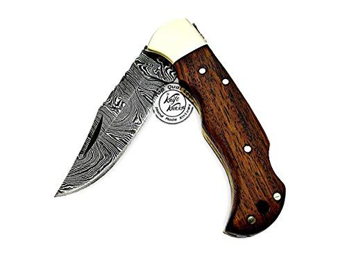 Knife Knation  7 Beautiful Rose Wood 6.5'' 100% Handmade Damascus Steel Folding Pocket Knife with Back Lock 100% Prime Quality
