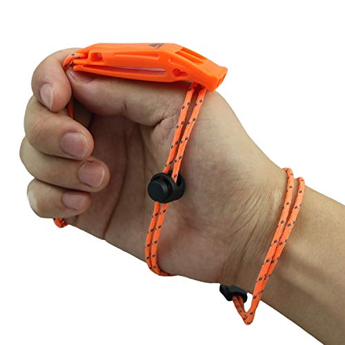 LuxoGear  2 LuxoGear Emergency Whistles with Lanyard Safety Whistle Survival Shrill Loud Blast for Kayak Life Vest Jacket Boating Fishing Boat Camping Hiking Hunting Rescue Signaling Kids Lifeguard Plastic 2 Pack