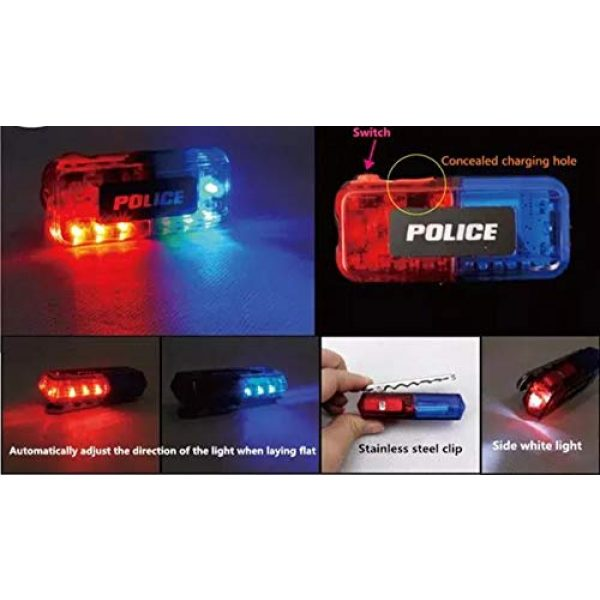 AooYu Survival Flashlight 4 Police LED flashing warning shoulder light safety clip lamp with flashlight lighting function for Outdoor rescue,traffic guidance,Security patrols,cycling,Night run and more application scenarios