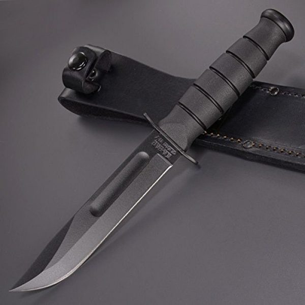 Ka-Bar Folding Survival Knife 3 KA-BAR Straight Edge Knife with Leather Sheath, Black, Short