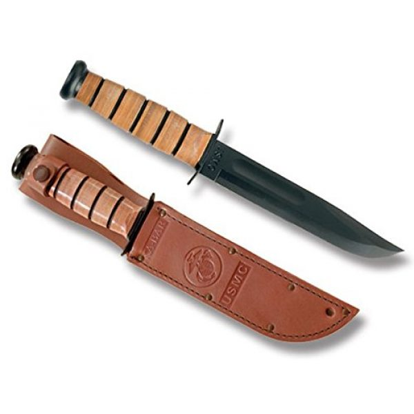Ka-Bar Fixed Blade Survival Knife 2 Kabar New USMC Straight Edge with Leather Sheath - The Most Famous Knife in The World + Includes a Free Zombie Hunter Survival Knife