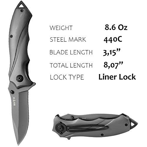 Grand Way  2 Pocket Knife for Men Best Spring Assisted Knife - Folding Knife with Glass Breaker and Pocket Clip - Tactical Knofe - Camping Hunting Hiking Fishing EDC Survival Boy Scout Knife - Gifts for Men 6495