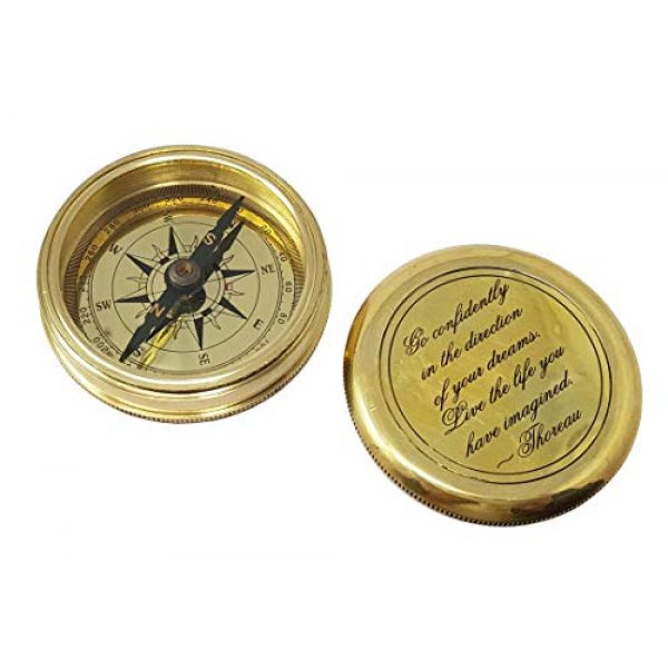 Brass Nautical Survival Compass 3 Brass Nautical - Go Confidently in The Direction of Your Dreams Thoreau's Quote Compass W/Case