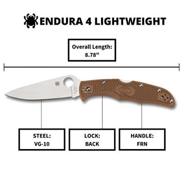 "Spyderco Folding Survival Knife 5 Spyderco Endura 4 Lightweight Signature Folder Knife with 3.80"" VG-10 Steel Blade and Brown FRN Handle - PlainEdge Grind - C10FPBN"