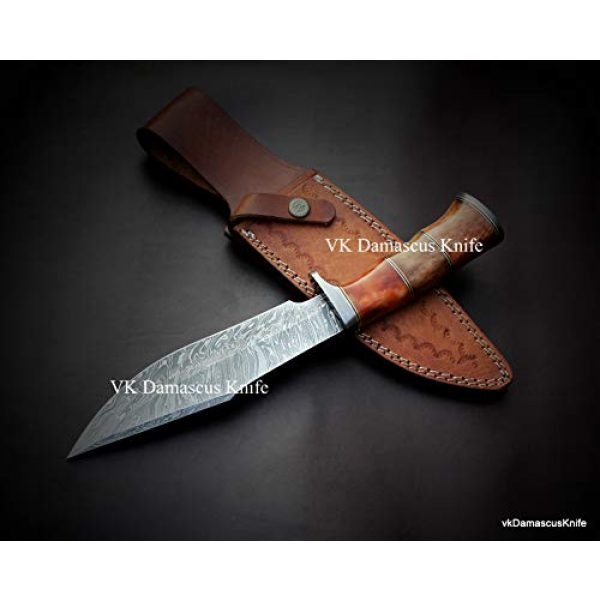JNR Traders Fixed Blade Survival Knife 3 JNR Traders vk0077 Handmade Damascus Steel Bowie Hunting Knife Camel Bone Handle 12.50 Inches