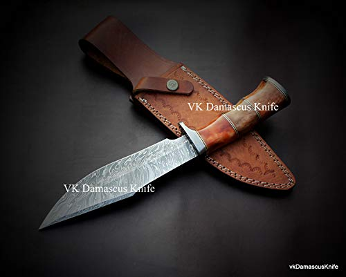 JNR Traders  3 JNR Traders vk0077 Handmade Damascus Steel Bowie Hunting Knife Camel Bone Handle 12.50 Inches