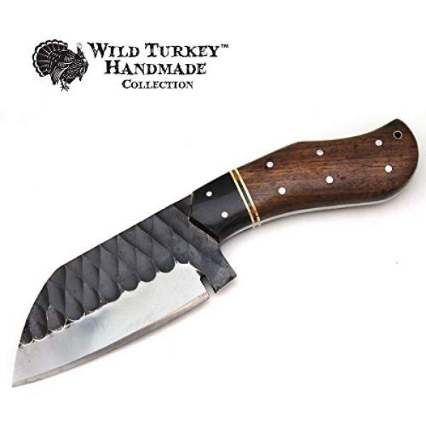 Wild Turkey Handmade Fixed Blade Survival Knife 3 Wild Turkey Handmade Collection Full Tang High Carbon Steel Fixed Blade Knife w/Leather Sheath