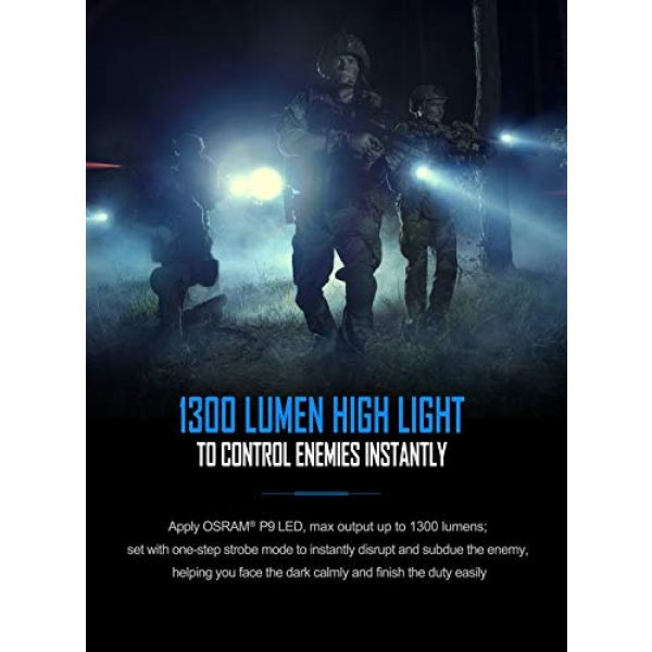 NEXTORCH Survival Flashlight 5 1300 Lumens USB Rechargeable LED Flashlight 18650 Battery Ultra Bright Pocket Torch TA30 for Camping, Outdoor, Emergency, Everyday Flashlights